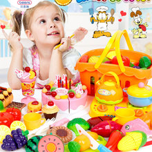 Beiens 37pcs/set Plastic Kitchen Food Fruit Vegetable Cutting Kids Pretend Play Educational Toy Cook Cosplay mini food toys(China)