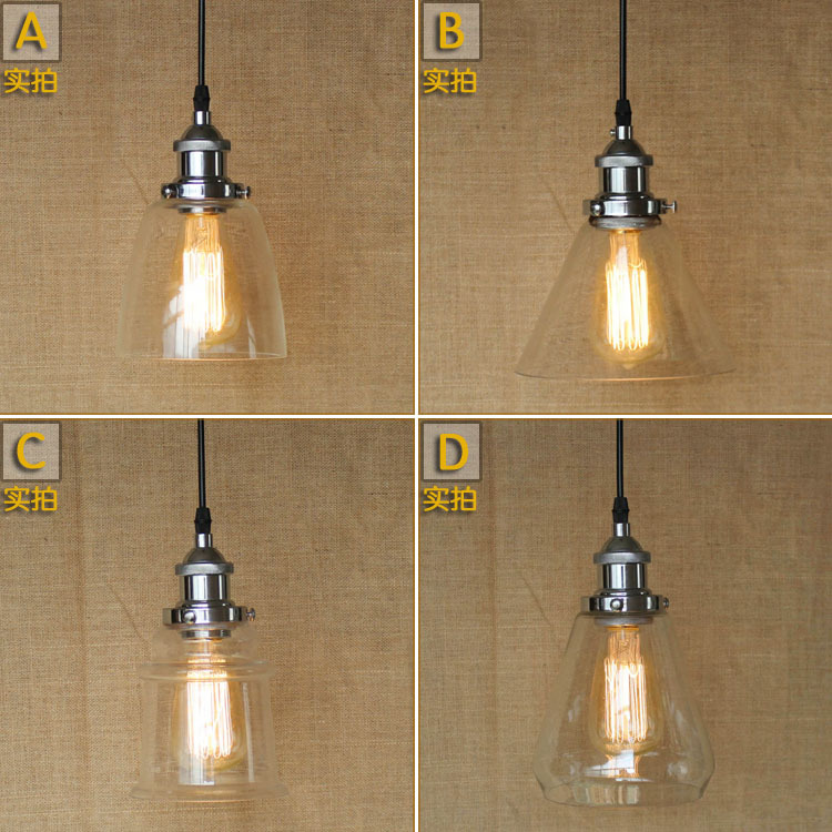 Industrial Vintage Creative Personality Glass Pendant Light Hotel Restaurant Cafe Loft Style Decoration Light Free Shipping<br>
