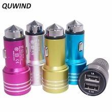 QUWIND Practical Aluminum Shell Car Charger Dual USB Port Emergency Hammer 12 - 24V Input