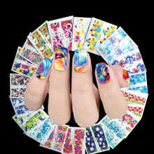 50 Sheet Flower Nail Decals Water Transfer Manicure Nail Art Stickers Tips For Nails Decoration(China)