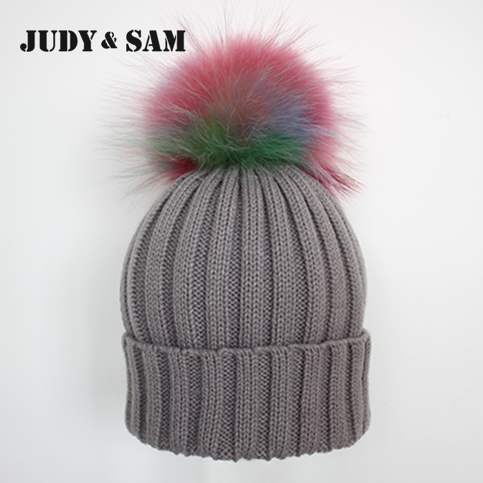 Rainbow Real Fur Pom Pom Stripped Knitted Hat Raccoon Fur Ball Chrochet Beanies for MenОдежда и ак�е��уары<br><br><br>Aliexpress