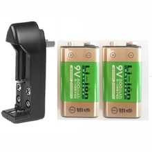 2PCs lithium batteries 9V 800MA H rechargeable l i-ion battery + charger fit for GPS no memory effect long lasting