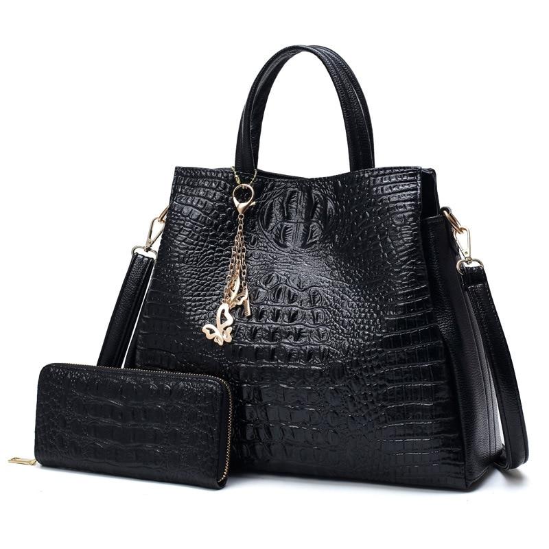 Fashion Handbags Female Crocodile Pu Leather Women Shoulder Bags Luxury Crossbody Bag Women Designer Messenger Bag Send Wallet<br>