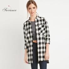 Suvance Fashion Brief Plaids Loose All Match College Style Long Sleeves Shirts Quality Brand Euro Women Casual Tops F073