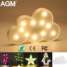 AGM LED Night Light Cloud Lamp Light Novelty Luminaria 3D Flamingo Cactus Nightlight Marquee Letter Light For Children Decor