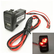 5V 2.1A USB Interface Socket Iphone/ipad/Smart phone Car Charger and Voltage Meter Battery Monitor Use for TOYOTA VIGO