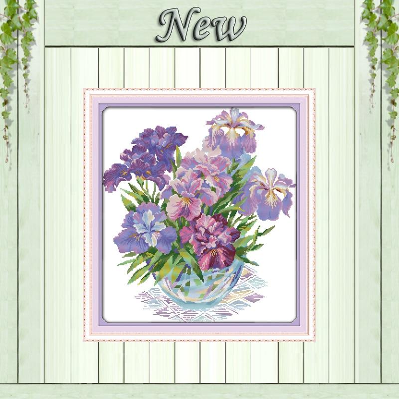 Вышивка с фиолетовыми цветами 318