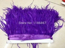 Free Shipping 1Yard/Lot Height  10-15CM/ 4-6 inch  Ostrich Feather fringe  dark purple Ostrich feather Trimming