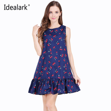 Idealark 100% cotton Sleeveless Sexy Ruffles Women Dress Summer Casual A Line Party beach dress Vestidos WC0589(China)