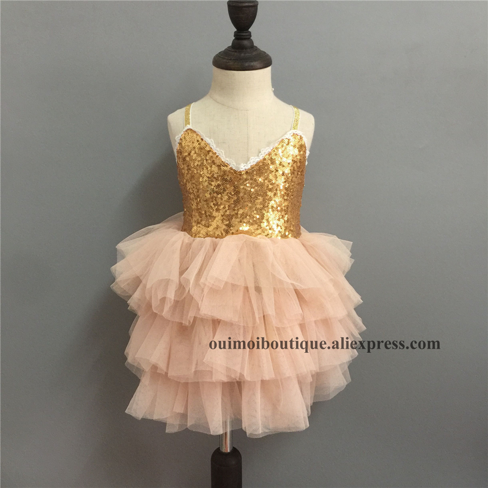 2018 Lace Hem Sleeveless Gold Sequins Girls Princess Layered Dress Tull Sequined Tulle Slip Dress For Kids Boutique Costume