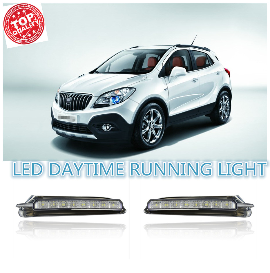 Turn off style relay LED DRL car daylight Daytime Running Lights for Buick Encore Opel Mokka 2012-15 with auto driving lamp(China (Mainland))