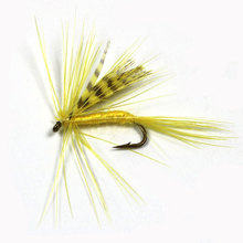 10PCS #12 Yellow Color Grizzly Wing May Fly Fishing Trout Lures