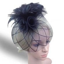 Paris USA Vogue Feather Net Yarn Party Headwear Top Hat Hair Clip Black Feather Fascinator Hairpin For Horse Racing Stage Church