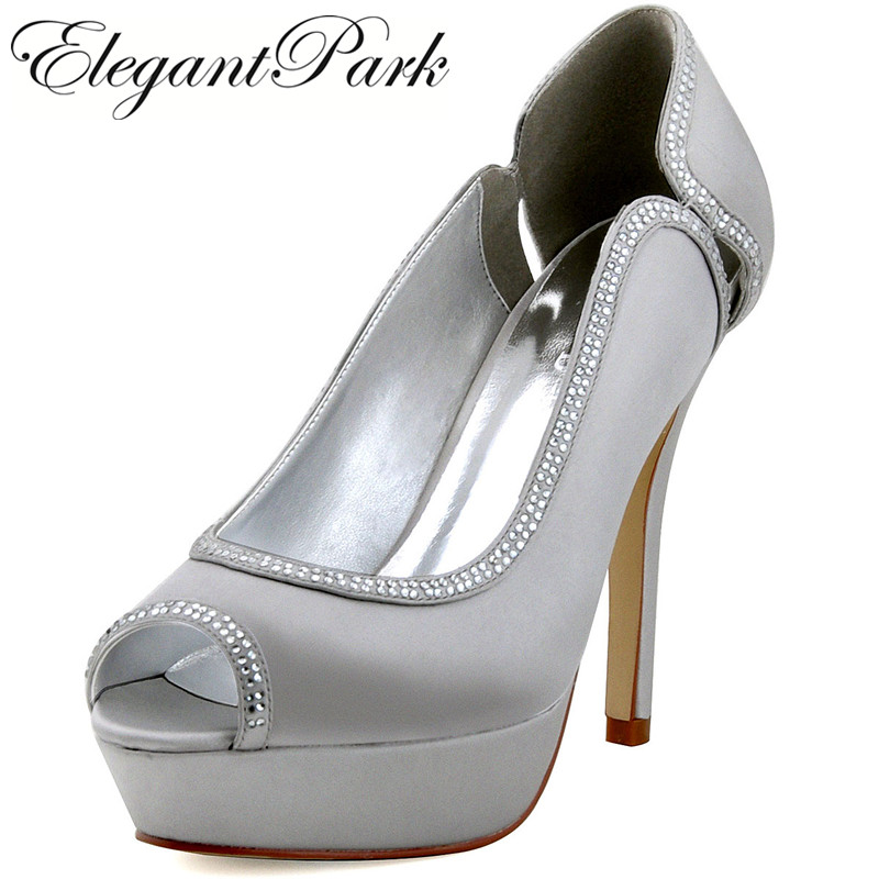 Woman Shoes Silver Rhinestones High Heel Platform Pumps Satin Bride Bridesmaids Evening Party Shoes Women Wedding Shoes HP1503P(China (Mainland))