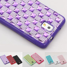 Case For Samsung GALAXY Note 3 N9000 Luxury Elegant Lady Shiny Bling plaid Gem Diamond Resin Clear TPU Back Cover Protect shell