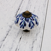 5pcs 43mm large Pumpkin Ceramic Knobs Blue Leaf print Kitchen Cabinet Cupboard Wardrobe Dresser Drawer Knobs Handles Pulls(China)