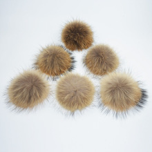 DIY 13-14-15cm Fur Pompoms for Knitted Hats and Caps Big Real Raccoon Fur Ball Pom Poms(China)