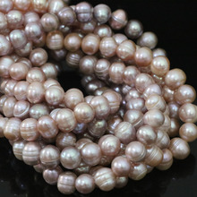 Charms purple natural beautiful freshwater cultured round pearl 9-10mm women jewelry wholesale retail loose beads 15inch B1379(China)