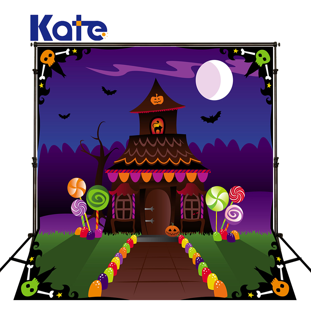 KATE Halloween Backdrops Fairy Tale World Candy House and Lollipop Cartoon Photo Hintergrund Fotografie Newborn Haus Background<br>