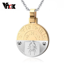 "Vnox Classic Cancer Twelve Constellations Necklace Pendant Gold-color Stainless Steel Men / Women 24"" Chain(China)"