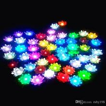 19 CM LED Flying lantern wishing lanterns Chinese Floating Garden Water pool Artificial lotus flower Wishing Christmas lamp