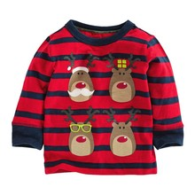 2017 New Design Boys T-shirt Red striped Christmas deer Baby Boy brand t shirts for boys Long Sleeve 100% Cotton child T-shirts(China)