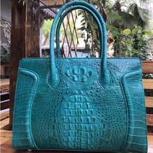 yongliang New crocodile leather women handbag blue rose red color colorful big bones lady bag large capacity(China)