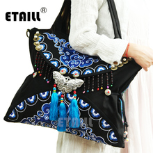 2016 Double Faced Boho Hobo Hmong Ethnic Embroidery Shoppers Bag Indian Embroidered Famous Brand Logo Handbags Sac a Dos Femme