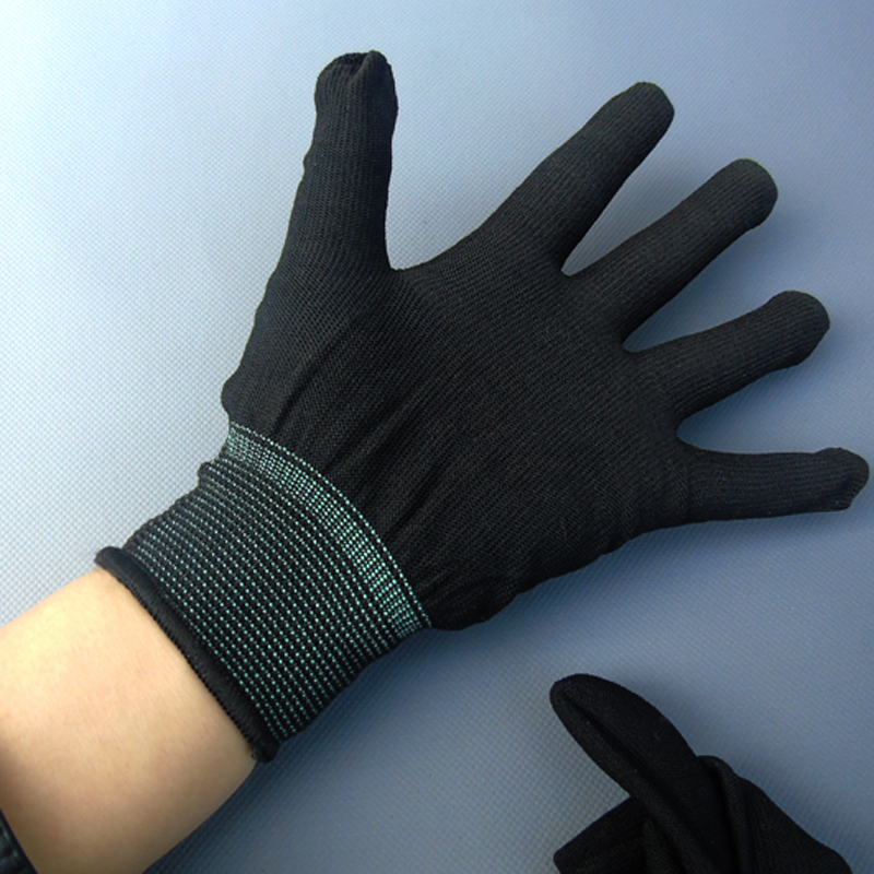 Black nylon gloves knitted elastic fine dust paste operation safety line clean gloves<br><br>Aliexpress