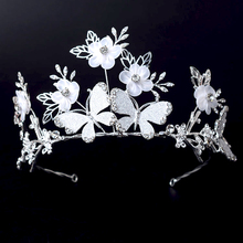 Crown Silver butterfly flower bridal crown royal crowns and tiaras bridal headpiece headbands wedding hair accessories
