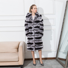 CNEGOVIK High quality chinchilla fur coats for women rex rabbit fur coat with hood(China)