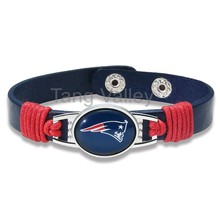 Adjustable Genuine Leather New England Football Teams Bracelet Choose Your Teams, 6pcs/lot!(China)