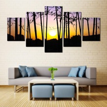 Sunset Bamboo Forest Oil Paintings 5 Panel Canvas Art Nature Secenery Painting Pictures Home Wall Decoracion Pictures Unframed(China)