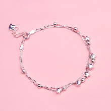 Daisies Real 925 Sterling Silver Star Chain Link Bracelets Bangles Fine Jewelry Two Layer Silver Charm Bracelet Female(China)