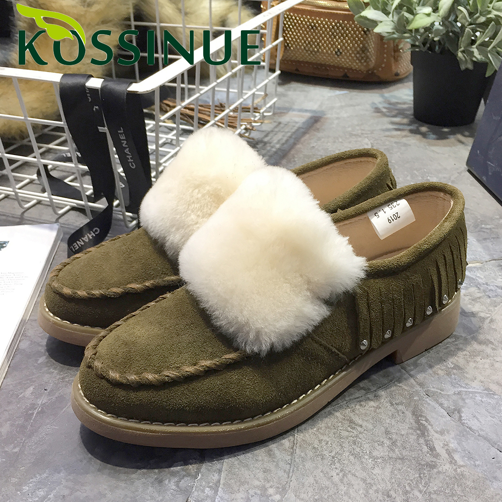Women Real Wool tassels Shoes Genuine Leather Womens Retro Slipper Flats Female Casual Slip On Flats For Women Cozy Shoes<br><br>Aliexpress