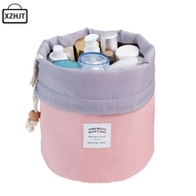 Fashion Barrel Shaped Travel Cosmetic Bag Make Up Bag Drawstring Elegant Drum Wash Kit Bags Makeup Organizer Storage Beauty Bag(China)