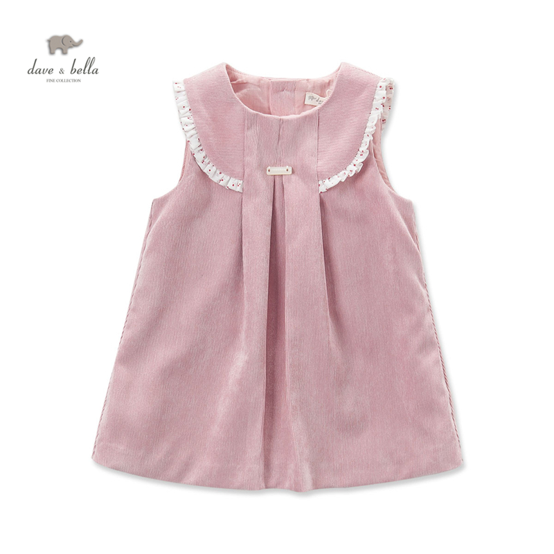 DB3916 dave bella autumn baby girl pink ruffles princess dress baby sleeveless dress kids birthday dress children costumes<br>