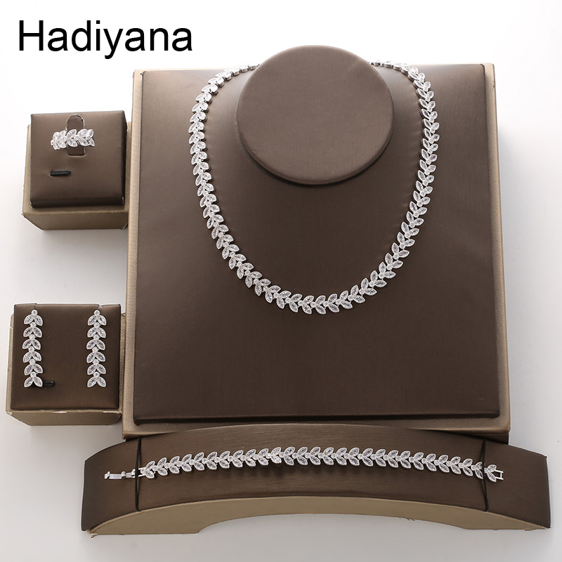 Hadiyana Luxury Bridal Engagement Wedding Jewelry Set Shiny AAA Zircon Arrow Women's Necklace Earring Bracelet Ring Sets TZ8089