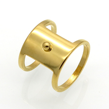 Latest Design Gold Color Square Ring 16mm Women/men Fashion Jewelry Party Trendy Stainless Steel Round Band Ring