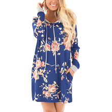 YJSFG HOUSE Women Autumn Hooded Mini Dress Casual Loose Floral Print Office Dress Vintage Long Sleeve Ladies Party Hoodies Dress