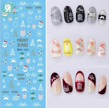 Rocooart DS358 Water Transfer Nails Art Sticker Colorful Merry Christmas Xmas Nail Wrap Sticker Manicura stickers for Nail