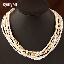 Kymyad Necklace Imitation Pearl Necklace Jewelry Luxury Pearl Jewellery Layer Pearl Choker Necklaces & pendants