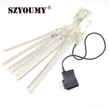 SZYOUMY Upgraded 20cm 8 Tubes 96 LED Meteor Shower Rain Lights Drop/Icicle Snow Falling Raindrop Cascading lights for Wedding(China)
