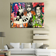 ZZ236 Modern Oil Painting On canvas paintings in living room famous abstract Alec Monopoly cartoon Graffiti Wall Art paintings(China)