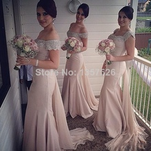 Best Selling  New Sexy Off The Shoulder Sleeveless Mermaid Bridesmaid Dresses Sash Sweep Train Formal Dresses WL26