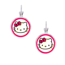 1pair Cartoon Figure Hello Kitty Photo 14mm Round Glass Cabochon Clip Earrings, Handmade Party Favor Cat Earrings