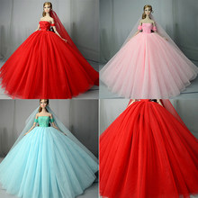 Lace Wedding Dress +Veil For Barbie Doll Best Gift Doll Dress High quality  Handmade Long Tail Evening Gown Clothes 776ed1947527
