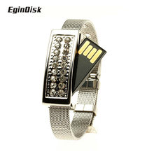 2017 Fine Gift Usb Stick Crystal Jewelry Wrist Band Pen Drive Bracelet Flash Drive Real Capacity Pendrive 8GB 16GB 32GB 64GB(China)