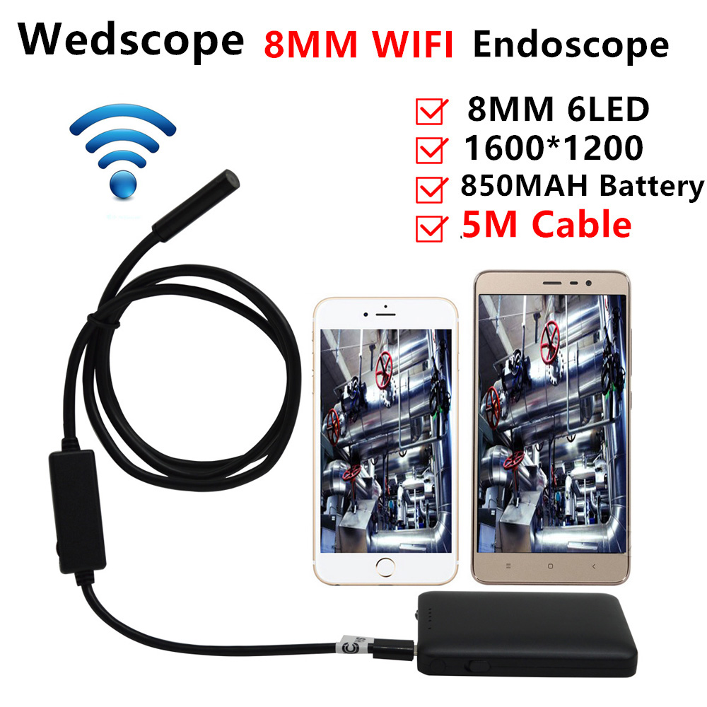8MM 5M Wireless Wifi Endoscope Android Camera Borescope Snake Tube 720P Waterproof Car Inspection for IOS Iphone Endoscope <br>