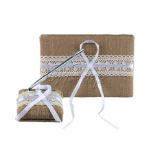 2pcs/set Burlap Wedding Guest Book + Pen Set with Lace Ribbon Pen Stand Guest Signature Book for Rustic Wedding Ceremony Decor(China)